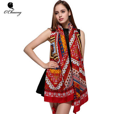 O CHUANG Fashion Red Scarf Women Shawl Woman Scarves Hijab Sjaal foulard Winter