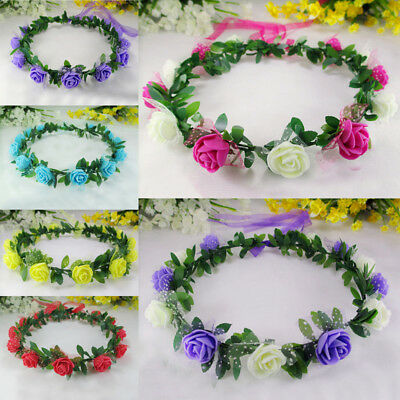 Fashion 1Pc Girl Hot Lovely Rose Flower Garland Princess Wedding Accessories