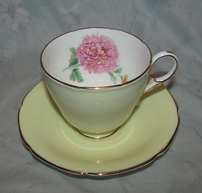 Vintage Paragon Tea Cup and Saucer, Pale Yellow, Pink Amaranth/Dahlia, Gold