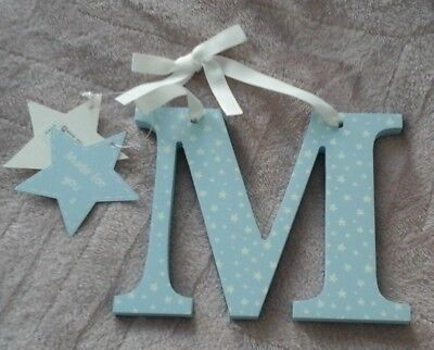 wooden M initial letter Baby blue with white stars brand new with labels