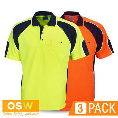 3 X Hi Vis Hivis Tradies/Builder Breathable Cool Dry Safety Polo Work Shirts