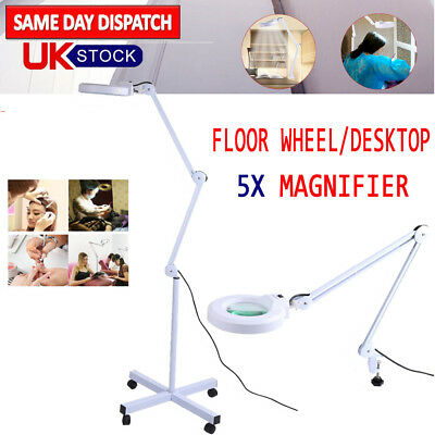 Desk Floor Stand Magnifier Magnifying Lamp Light Skincare Beauty Manicure Tattoo