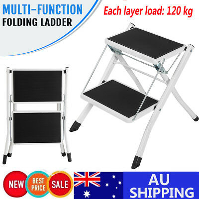 Anti- Slip Multi Telescopic Folding Ladder Extension Steps Stools W/ Tool Tray