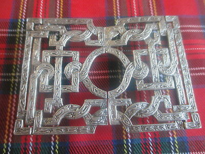 Superb Ornate Solid Silver 925 Celtic Knot Belt Buckle Full Uk Hallmark 63.45Gr.