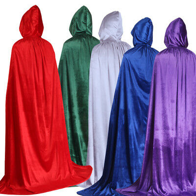 Medieval Velvet Hooded Cloak Wicca Long Robe Halloween Witchcraft Larp Capes