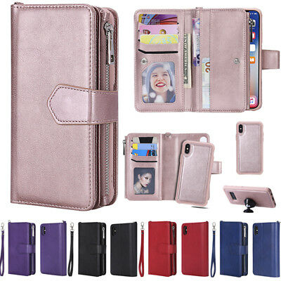 For iPhone XS Max 6 7 8+ X Removable Magnetic Leather Wallet Zipper Case Cover