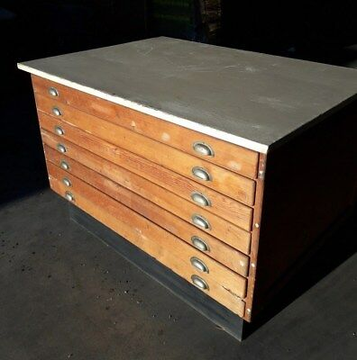 Pre-war, Large Vintage, Industrial, Seven (7) Drawer Plan Chest - Pitch Pine