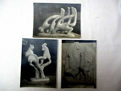 1950's/60's black & white  photos of bizarre chicken carvings  3 total