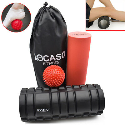 2 in 1 Foam Roller Exercise High Density Trigger Grid Physio Massage Ball UKED