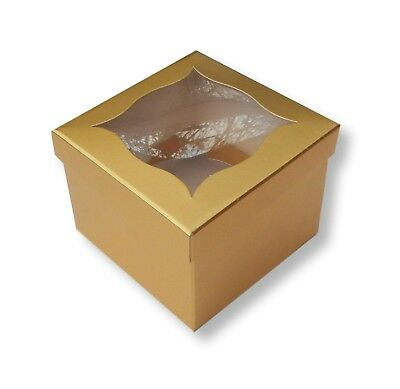 50 Gold Single Cupcake, Muffin, Fairy Cake Boxes, Bathbombs Soaps,Sweets 1 Cake