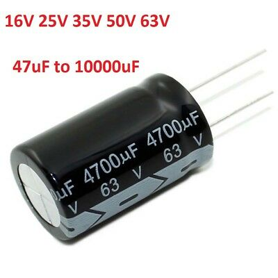16V 25V 35V 50V 63V Radial Electrolytic Capacitors Range of 47uF-10000uF 105°C
