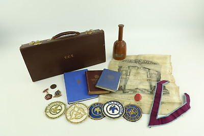 Job Lot Assorted Vintage MASONIC Regalia Inc. Aprons, Collars & Medals
