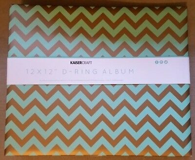 "Kaisercraft CHEVRON MINT PRINTED METALLIC 12x12"" D-Ring Binder Album w/ refills"
