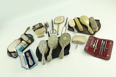 Job Lot of Vintage Ladies Vanity Inc. Brushes, Mirrors, Silver Plate & Bakelite