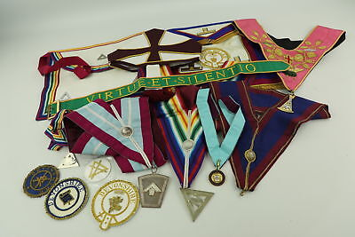 Job Lot Assorted Vintage MASONIC Regalia Inc. Aprons, Collars, Jewels & Hat Etc