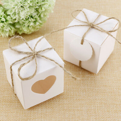 50/100pcs White Cardboard Wedding Gift Boxes Candy Sweet Box Gift Favour Boxes