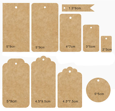 ECO KRAFT Paper Gift TAGS Card Label | with Free string | 200 Per Pack | 100 Pcs