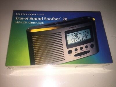 Sharper Image Design TRAVEL SOUND SOOTHER 20 w/ LCD Alarm Clock -NEW, SEALED!