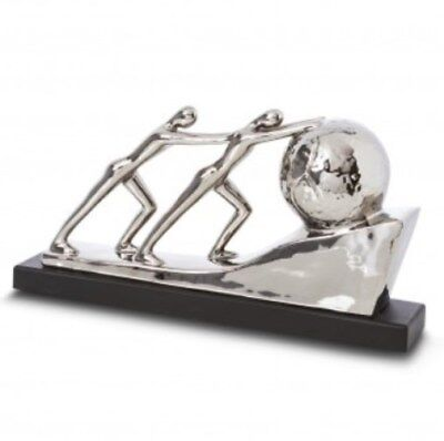 2 MEN PUSHING BOULDER Contemporary Sculpture Ornament (42cm) Electroplated NEW