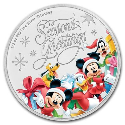 2018 Niue 1/2 oz Silver $1 Disney Season's Greetings Proof (Mint Sold Out)