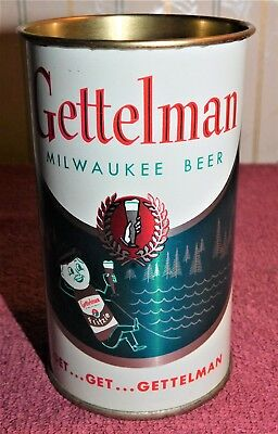 """1950s GETTELMAN BEER """"Fritzie"""" FLAT TOP Drinking Cup CAN (MINTY) Simply The Best"""