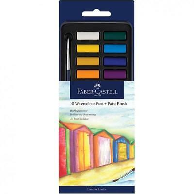 Faber-Castell WaterColour Pan Tablet Paint Set of 18 Artist Craft Highly Pigment