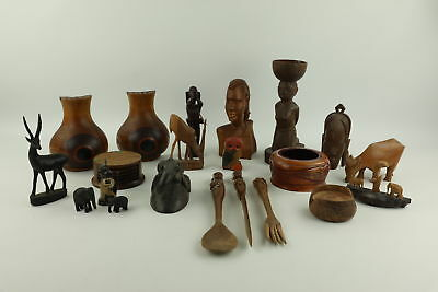 Job Lot of Vintage Decorative TREEN Inc. Flower Holders, Animals & Bowels
