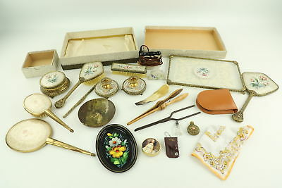 Job Lot of Vintage Ladies Vanity Inc. Sets, Brushes, Mirrors, Boxed Items Etc