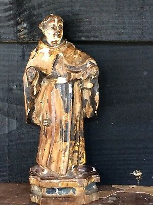 Early 17th Or 18th Century Religious Carving Polychrome Descoration Saint Gilt