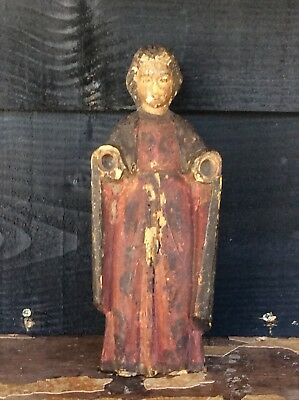 Early 17th Or 18th Century Religious Carving Polychrome Descoration Saint