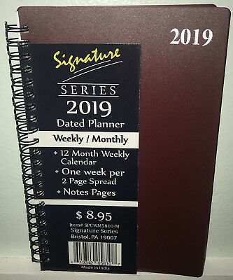 NEW 2019 Weekly Monthly Planner Signature Calendar Burgundy Red Spiral 5x8