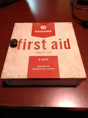Vintage  NAPA Balkamp Utility First Aid Kit metal box with contents