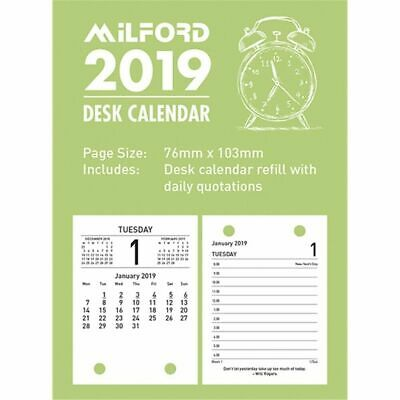 2019 Desk Calendar Refill Milford Day To Page 76mm x 103mm - Top Opening