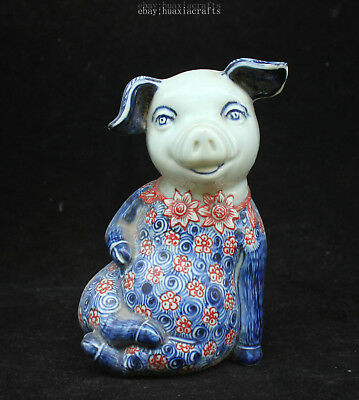 20cm Collect China Old Blue and White Porcelain Handmade Pig Sculpture HCNG