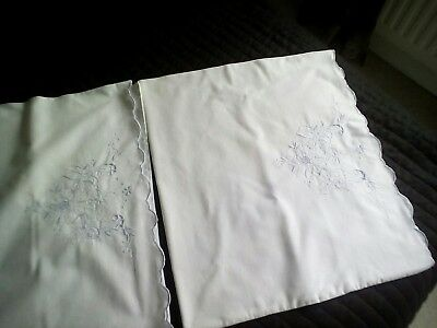 Vintage pillowcases pale blue embroidery one pair and one single