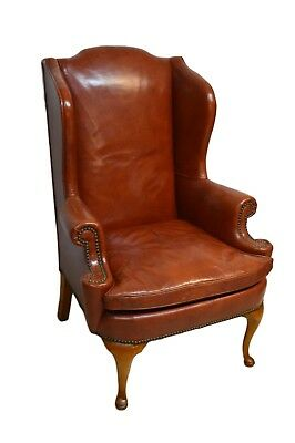 Henredon Mahogany Leather Wing back Chair