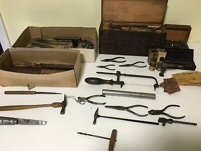 Watch maker tools-Antique with original wooden boxes-large assortment