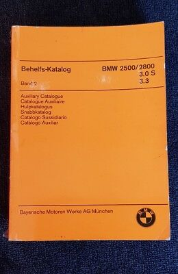 Original BMW Behelfs-Katalog 2500/2800, 3.0 S, 3.3