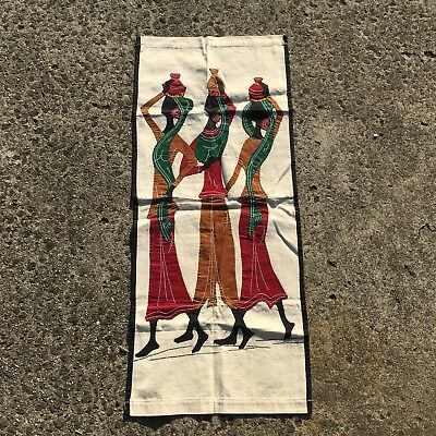 """AFRICAN LADIES """"Natural White"""" Pretty Decorative Hand Sewn Fabric Wall Hanging"""