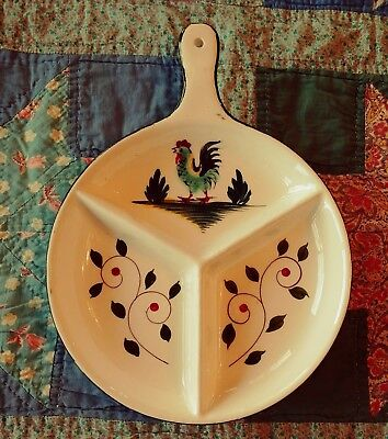Vintage  3 part Ceramic Relish Serving Dish Tray Rooster Old Wall Display