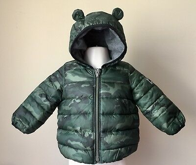 GAP Camouflage Hooded Puffer Coat w/Ears           Infant Size 6-12 Months *EUC*