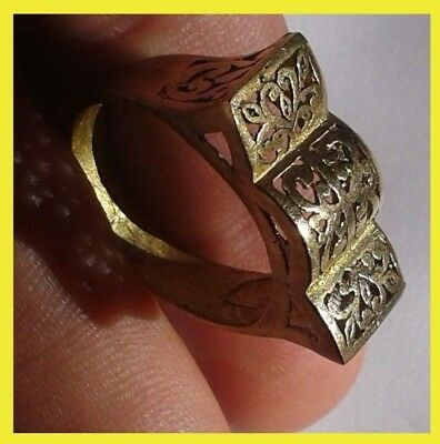 Ancient VIKING BRONZE Ring Engraved viking symbols Museum quality VERY Stunning