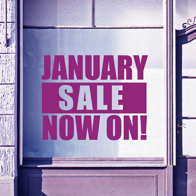 January Sale Now On Retail Sign Shop Window Display Wall Stickers Decals A301