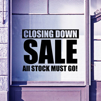 Closing Down Sale Sign Shop Retail Window Display Vinyl Wall Stickers Decal A305