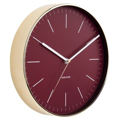 Karlsson Minimal Gold Clock - Burgundy Red [D]
