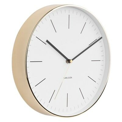 Karlsson Minimal Gold Clock - White [D]