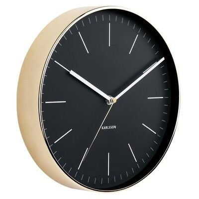 Karlsson Minimal Gold Clock - Black