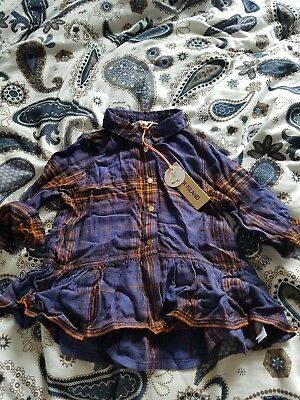 River island mini 9-12 months girls check shirt blue Autumnal