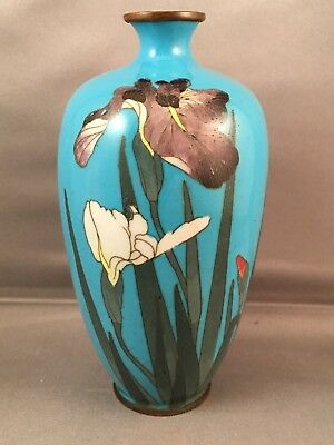 Antique Japanese Cloisonne Meiji Period Blue Vase Iris Flowers C1900