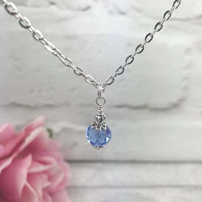 "Silver Sapphire BLUE Glass NECKLACE 16""-18"" CHAIN Czech Victorian VINTAGE Gift"